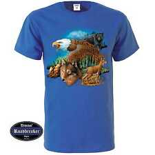 T Shirt royal blue with Animal Nature scene Model Wildlife with Wolf Bear Eag