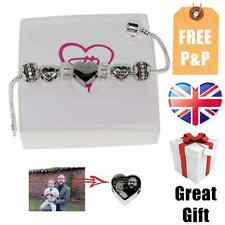 Personalised Engraved Charm With Photo Text With Bracelet, Charms and Gift Box
