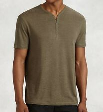 John Varvatos Star USA Men's Short Sleeve 4 Snap Henley Fatigue $78 msrp NWT