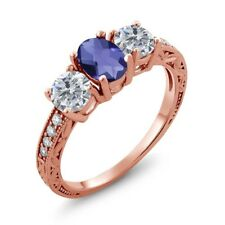 1.77 Ct Checkerboard Blue Iolite G/H Diamond 18K Rose Gold Plated Silver Ring