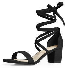 Women Open Toe Lace Up Mid Chunky Heeled Sandals