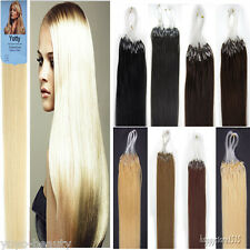 Double Drawn Loop Micro Ring Beads Tipped Remy Human Hair Extensions 16''-22''