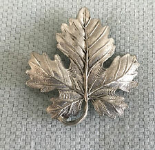 Vintage Large Maple Leaf Brooch Pin Silver Tone