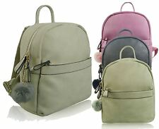 Ladies Soft Faux Leather Backpack, Two Compartments With PomPom Zip