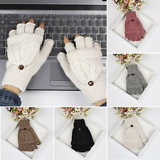 SM Winter Women Men Soft Fingerless Gloves Mittens Knitted Glove Hand Warmer