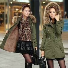 US Long Womens Winter Warm Coat Fur Collar Hooded Quilted Jacket Slim Parka
