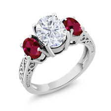 2.91 Ct Oval White Created Moissanite Red Created Ruby 14K White Gold Ring