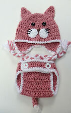 CROCHET BABY CAT HAT DIAPER COVER SET knit infant toddler beanie photo prop