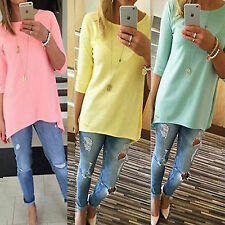Fashion Womens Loose Pullover T Shirt 3/4 Sleeve Plain Cotton Tops Shirt Blouse