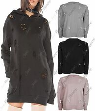 New Womens Distressed Ripped Holes Hooded Oversized Baggy Sweatshirt Jumper Top