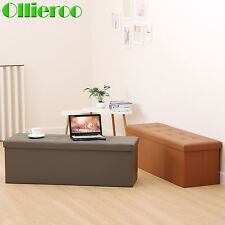 Ollieroo PU Leather Folding Storage Ottoman Seat Bench Foot rest Seat