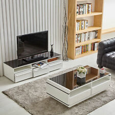 Home Premium TV Stand & Coffee Table High Glossy White with Black Tempered Glass