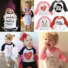 New Toddler Baby Kids Girls Clothes Letter Print Long Sleeve T-shirt Blouse Tops