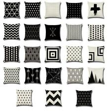 17'' Square Geometric Linen Cotton Pillow Case Cushion Cover Holiday Home Decor