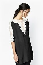 NWT FCUK French Connection Isla Lace Top Blouse Tunic Dress Black White sz 4