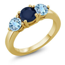 2.00 Ct Round Blue Sapphire Sky Blue Topaz 18K Yellow Gold Plated Silver Ring
