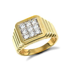 Jewelco London 9ct Gold CZ 9 Stone Square Cluster Ribbed Signet Ring