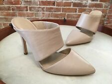 H by Halston Scarlett Sand Nude Leather Pointed Toe Heeled Mule Pumps NEW