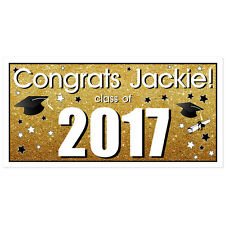 Class of 2017 Personalized Graduation Banner Gold Glitter Party Backdrop