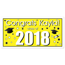 Class of 2017 Personalized Graduation Banner Yellow Party Backdrop