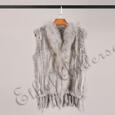 Real Classical Knitted Rabbit Fur Vest Gilet with Raccoon Fur Collar Lady Black