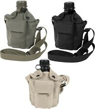 GI Military 1 Quart Canteen & Vintage Canvas Canteen Cover with Strap