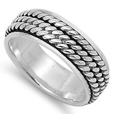 Men Women 7MM 925 Sterling Silver Three Braided Rope Spinner Ring Band
