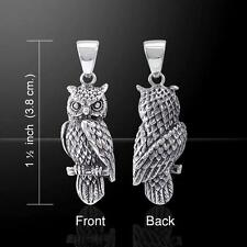 Perching Horned Owl Sterling Silver Pendant - Wise and ever Watchful !