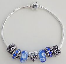 Grandma Heart Charm Blue Bead & Stones Rose Lock On Serjaden Charm Bracelet #025