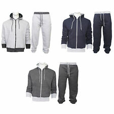 Mens Contrast Panel Hooded Neck Top Jogging Bottoms Joggers Full Tracksuit S-XL