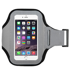 Gray Color Soft Sport Gym Running Armband Cover Jogging Holder Case