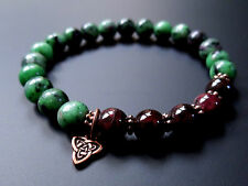 Elegant garnet and ruby zoisite bracelet w/ copper Celtic knot bead pick size