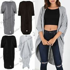 Womens Batwing Baggy Cardigan Ladies Boyfriend Cocoon Midi Open Front Kimono