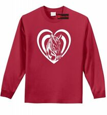 Horse Heart T Shirt Love Horse Graphic L/S Tee Country Cowgirl Gift Tee Z1