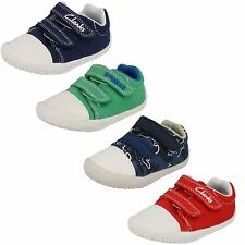 'Infant Boys Clarks' Rounded Toe Riptape Strap Canvas Doodles - Little Chap
