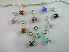 SILVER PLATED & CASED CRYSTAL DANGLE CHARMS FOR EURO STYLE CHARM BRACELETS #123