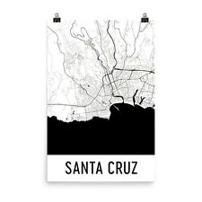 Santa Cruz CA Map, Art, Print, Poster, Wall Art From $29.99 - ModernMapArt