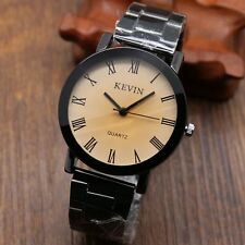 Fashion KEVIN Stainless Steel Band Quartz Wrist Watch Mens Womens Mens Xmas Gift