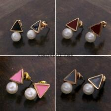 Charming Triangle White Pearl Alloy Ear Stud Earrings Gift Party Lady Women Girl