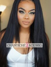 Women's Front Lace Human Hair Wigs Silky Straight Indian Remy Full Lace Wig UK