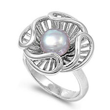 Women 13mm 925 Sterling Silver Freshwater Cultured Pearl Ladies Ring Band