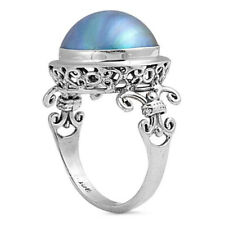 Women 17mm 925 Silver Bali Freshwater Cultured Mabe Pearl Cocktail Ring Band