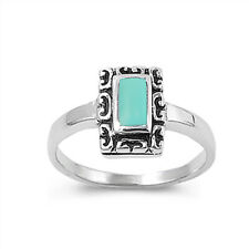 Women 11mm 925 Sterling Silver Vintage Simulated Turquoise Ring Band
