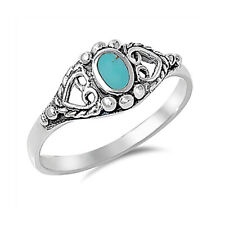Women 8mm 925 Silver Simulated Turquoise Vintage Style Heart Promise Ring Band