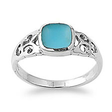 Men Women 8mm Sterling Silver Square Simulated Turquoise Filigree Design Ring