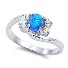 Women 9mm 925 Sterling Silver Simulated Blue Opal Bypass Ladies Ring Band