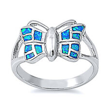 Women 11mm 925 Sterling Silver Simulated Blue Opal Butterfly Ladies Ring Band