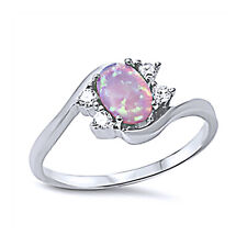 Women 9mm 925 Sterling Silver Simulated Pink Opal Bypass Ladies Ring Band