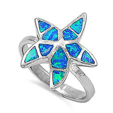 Women 18mm 925 Sterling Silver Simulated Blue Opal Starfish Ladies Ring Band
