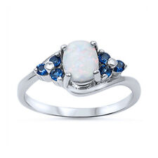 Women 10mm Sterling Silver Oval White Opal Blue CZ Stone Accent Ladies Ring Band